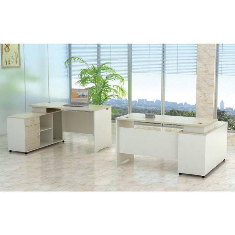 """Γραφείο """"PLANET"""" αριστερή γωνία σε χρώμα σημύδα-λευκό 160x120x75"""