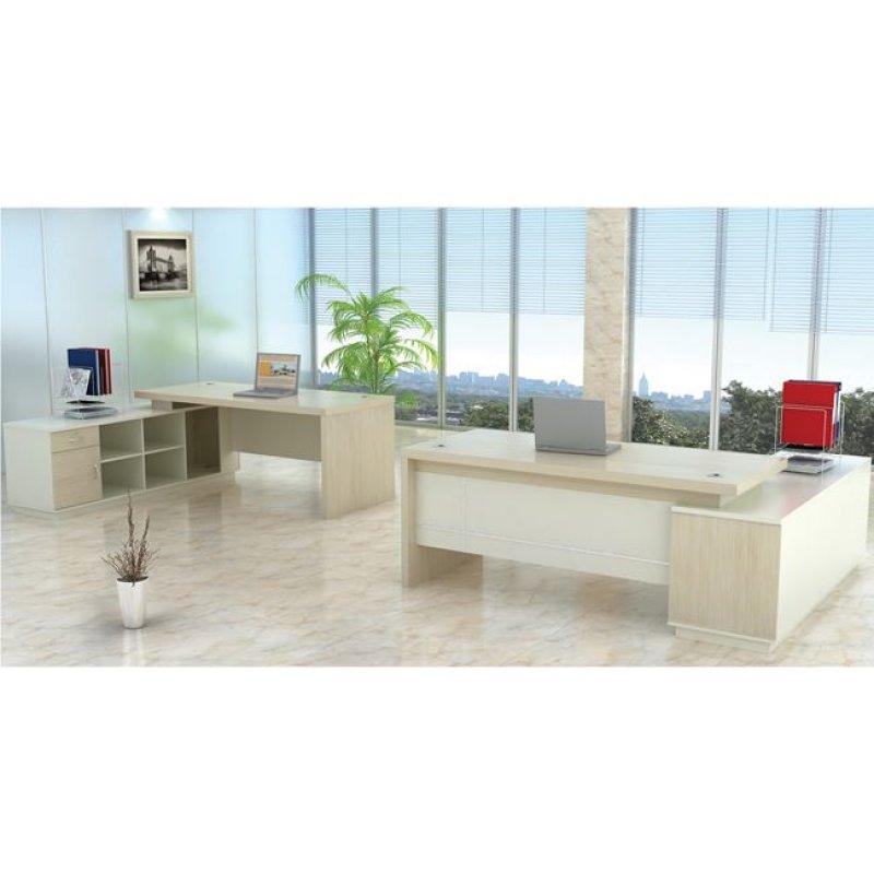 """Γραφείο """"PLANET"""" αριστερή γωνία σε χρώμα σημύδα-λευκό 180x180x76"""