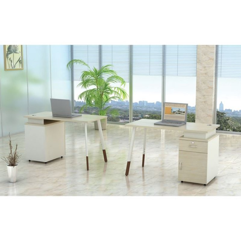 """Γραφείο επαγγελματικό """"PLANET"""" σε χρώμα σημύδα-λευκό 140x60x75"""