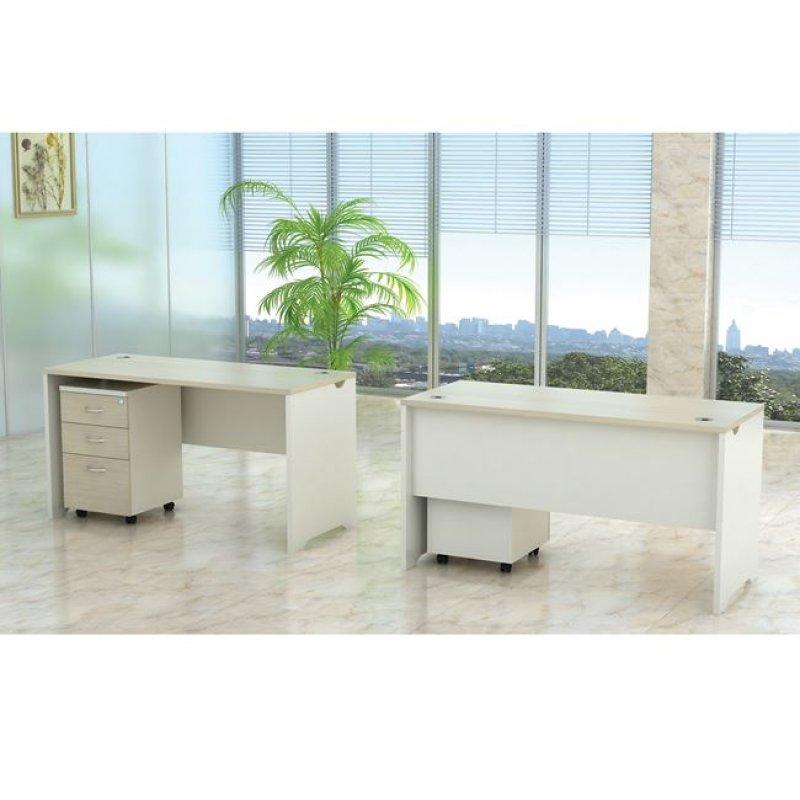"""Γραφείο """"PLANET"""" με συρταρίερα σε χρώμα σημύδα-λευκό 140x60x75"""