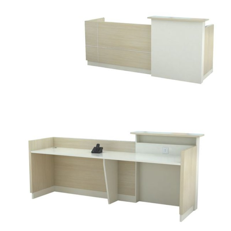 """Γραφείο """"PLANET"""" reception σε χρώμα σημύδα-λευκό 240x60x105"""