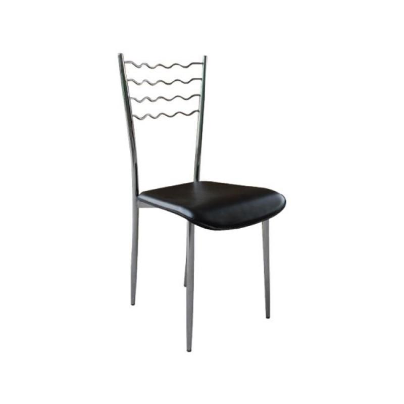 """Καρέκλα """"VIOLET"""" χρωμίου-τεχνόδερμα σε μαύρο χρώμα 36x40x82"""