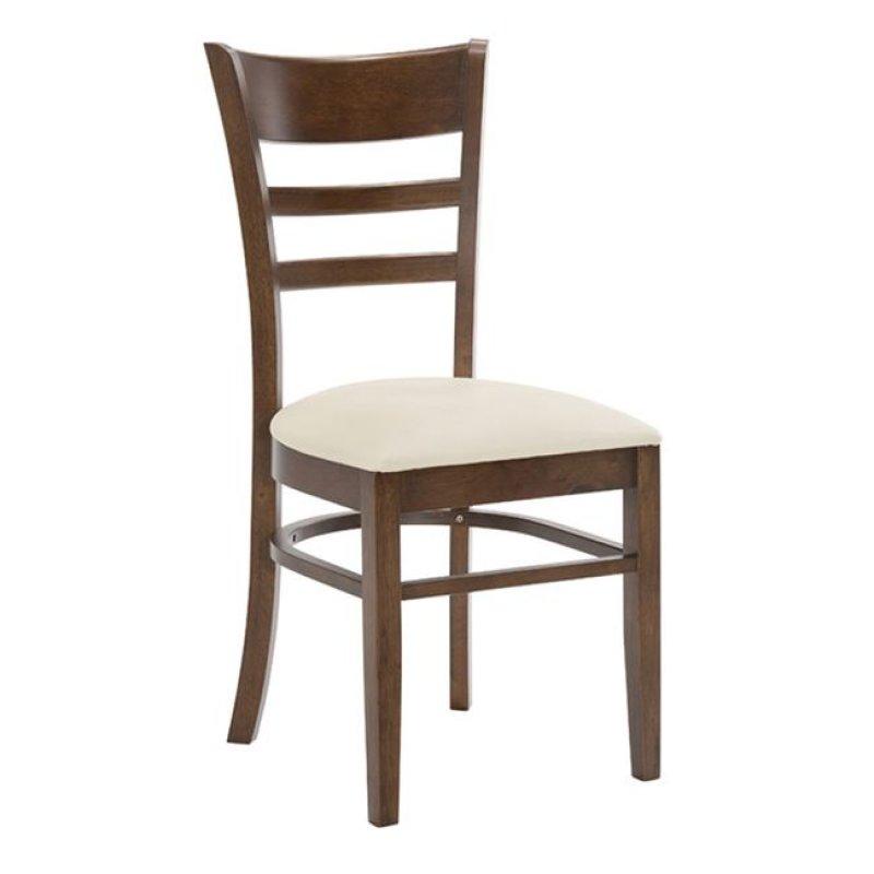 """Καρέκλα """"CABIN"""" ξύλινη-τεχνόδερμα σε καρυδί-εκρού 42x48x91"""