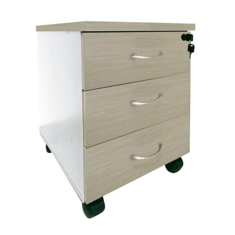 """Συρταριέρα """"PLANET"""" σε απόχρωση σημύδας-λευκό 39x47x52"""