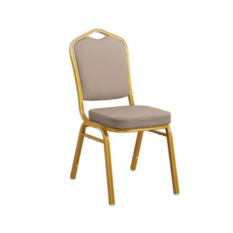 """Καρέκλα """"HILTON"""" μεταλλική-pu σε χρώμα cappuccino 45x62x94"""