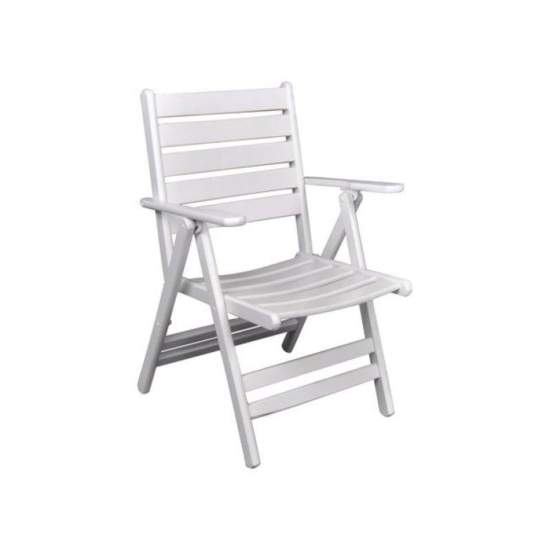 """Πολυθρόνα """"VENEZIA"""" πτυσσόμενη ξύλινη σε λευκό χρώμα 57x70x92"""