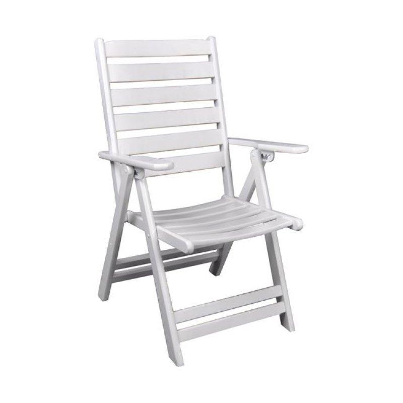 """Πολυθρόνα """"VENEZIA"""" πτυσσόμενη ξύλινη από λευκό χρώμα 57x71x105"""