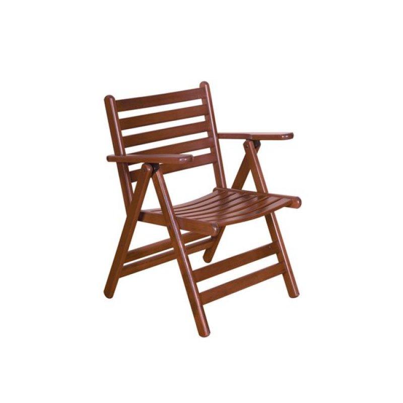 """Πολυθρόνα """"VENEZIA"""" πτυσσόμενη ξύλινη σε χρώμα καρυδί 57x70x92"""