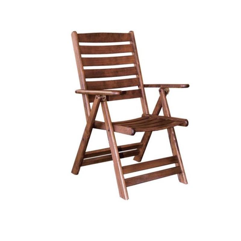 """Πολυθρόνα """"VENEZIA"""" πτυσσόμενη ξύλινη σε καρυδί χρώμα 57x71x105"""