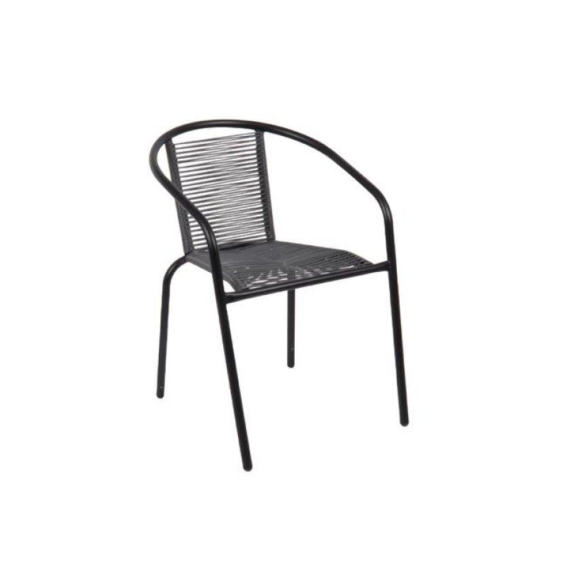 """Πολυθρόνα """"FUNKY"""" μεταλλική σε χρώμα μαύρο με wicker γκρι 52x57x73"""