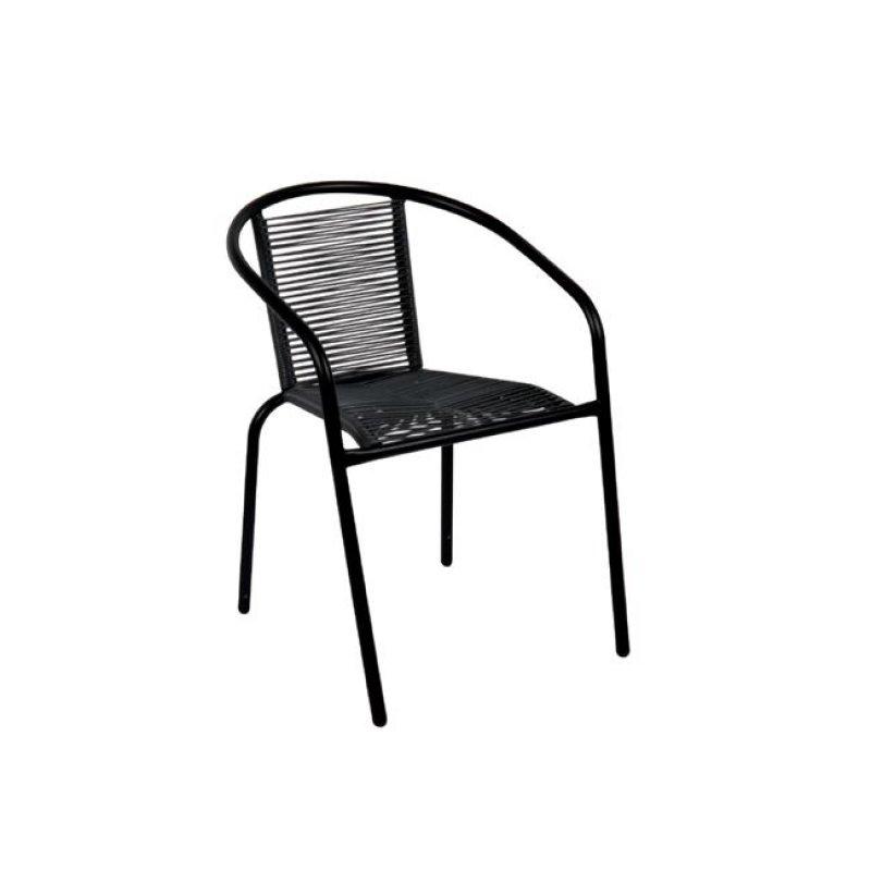 """Πολυθρόνα """"FUNKY"""" μεταλλική σε μαύρο χρώμα με wicker μαύρο 52x57x73"""