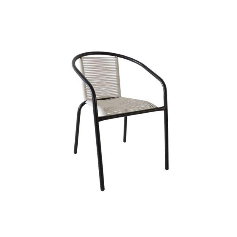 """Πολυθρόνα """"FUNKY"""" μεταλλική σε μαύρο χρώμα με wicker λευκό 52x57x73"""