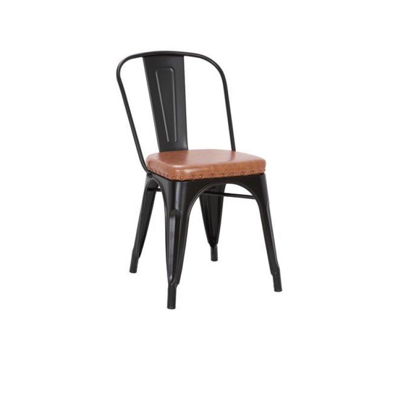 """Καρέκλα """"RELIX"""" μεταλλική μαύρη από τεχνόδερμα σε καφέ χρώμα 45x51x82"""