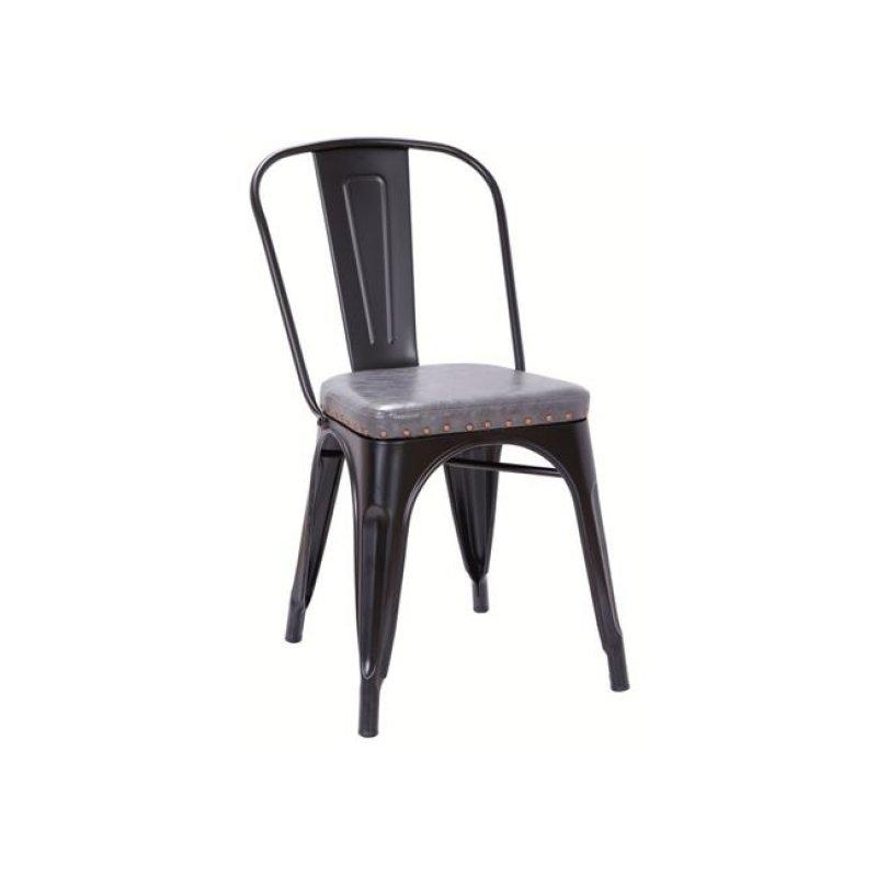 """Καρέκλα """"RELIX"""" μεταλλική μαύρη με τεχνόδερμα γκρι 45x51x82"""