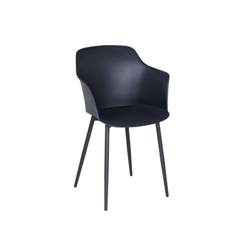 """Πολυθρόνα """"GLORIA"""" από πολυπροπυλένιο σε μαύρο χρώμα 59x52x82"""