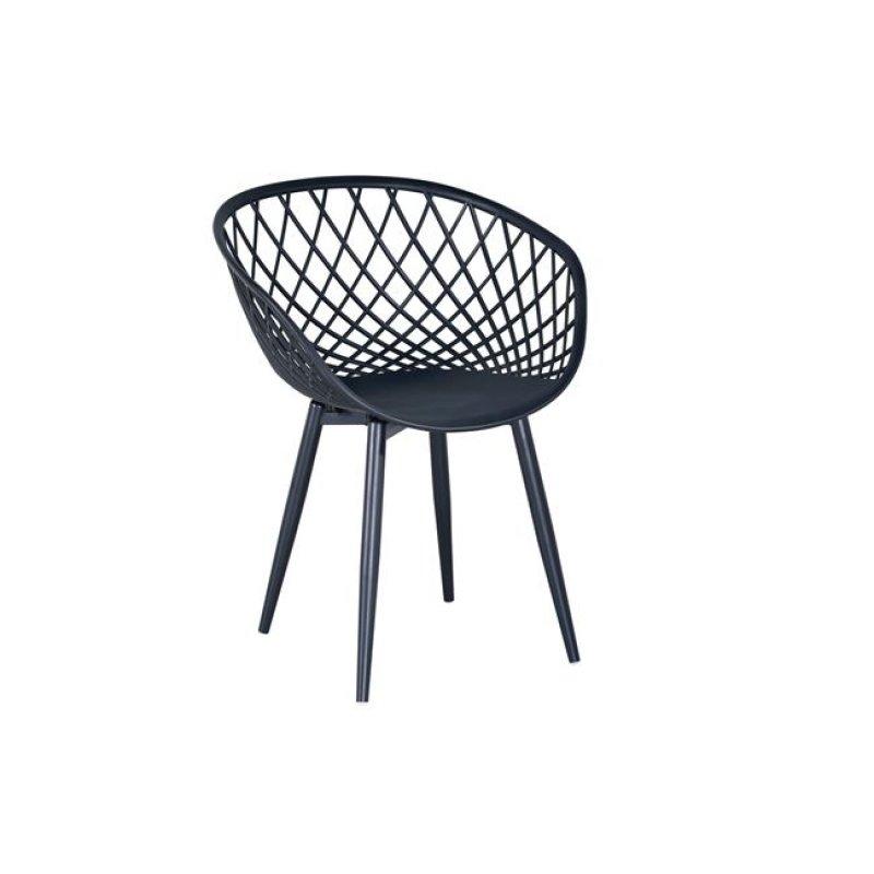 """Πολυθρόνα """"REX"""" μεταλλική με πλέγμα από πολυπροπυλένιο σε χρώμα μαύρο 62x56x80"""