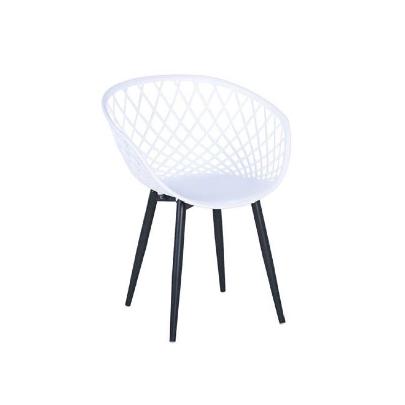 """Πολυθρόνα """"REX"""" μεταλλική από πλέγμα πολυπροπυλένιο σε χρώμα λευκό 62x56x80"""