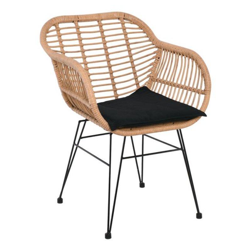 """Πολυθρόνα """"SALSA"""" από πλέξη wicker σε φυσικό χρώμα 55x66x76"""