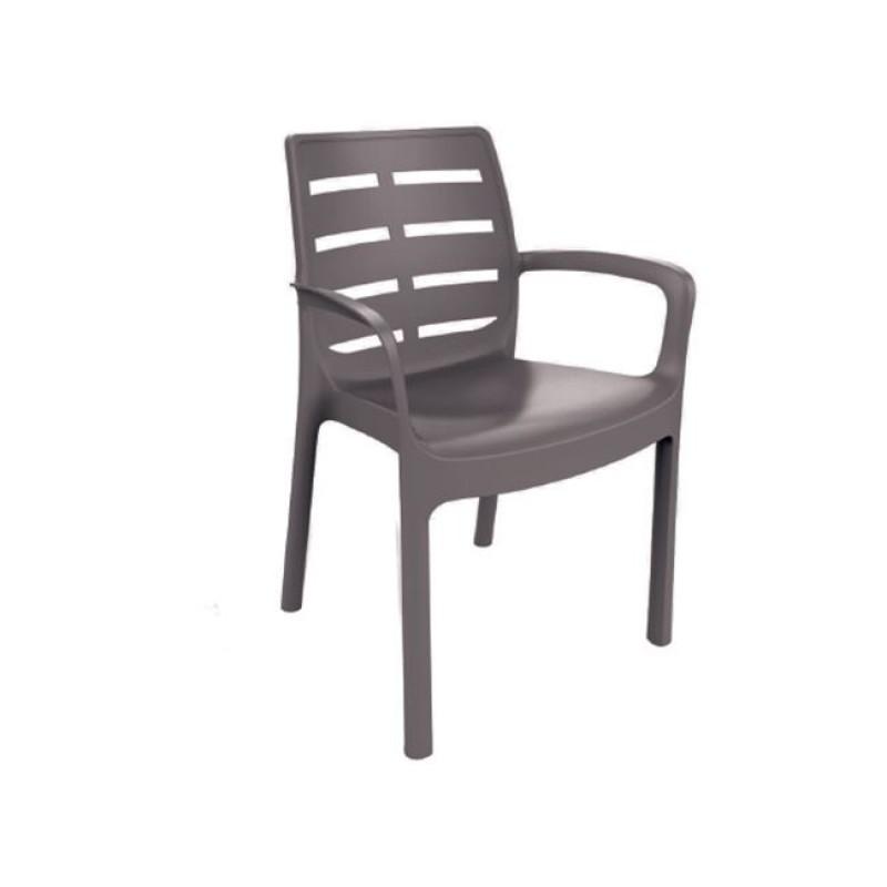 """Πολυθρόνα """"BORNEO"""" από πολυπροπυλένιο σε χρώμα καφέ 61x56x82"""