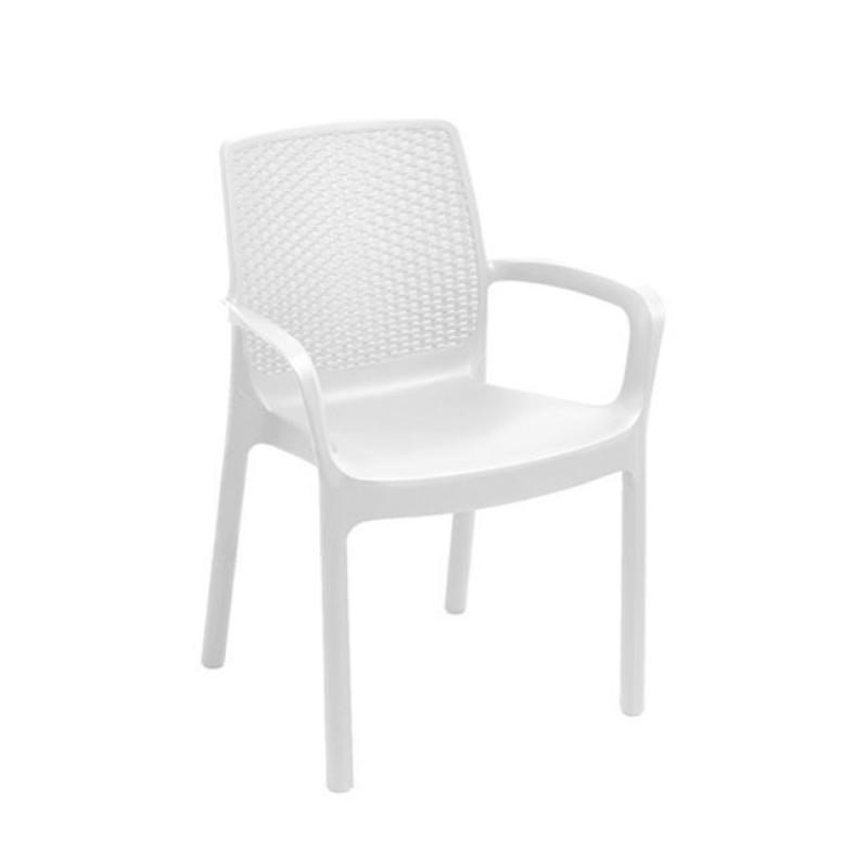 """Πολυθρόνα """"MAVERICK"""" από πολυπροπυλένιο σε λευκό χρώμα 61x54x82"""