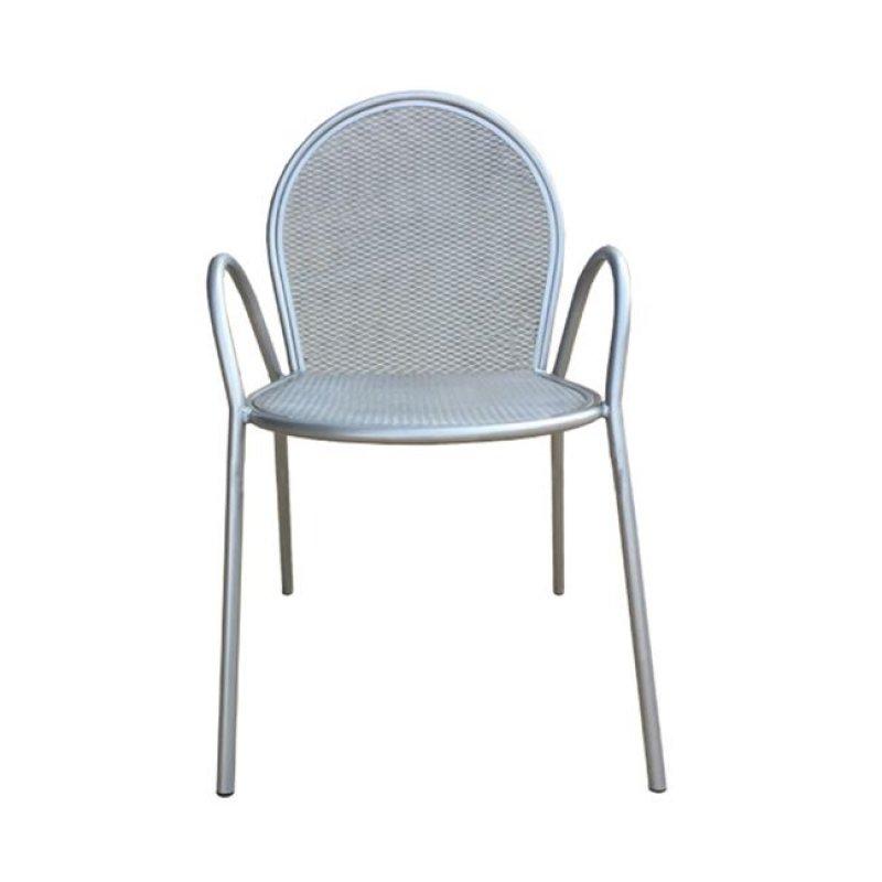 """Πολυθρόνα """"ANTICO"""" μεταλλική με πλέγμα σε ασημί χρώμα 54x62x89"""