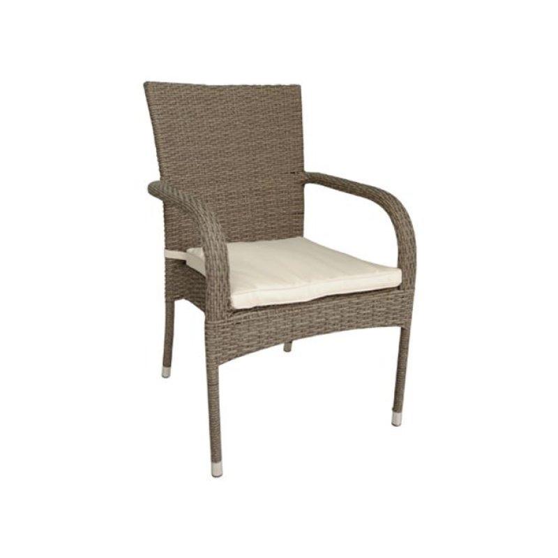 """Πολυθρόνα """"BARON"""" από πλέξη wicker σε καφέ χρώμα με εκρού μαξιλάρι 57x60x93"""