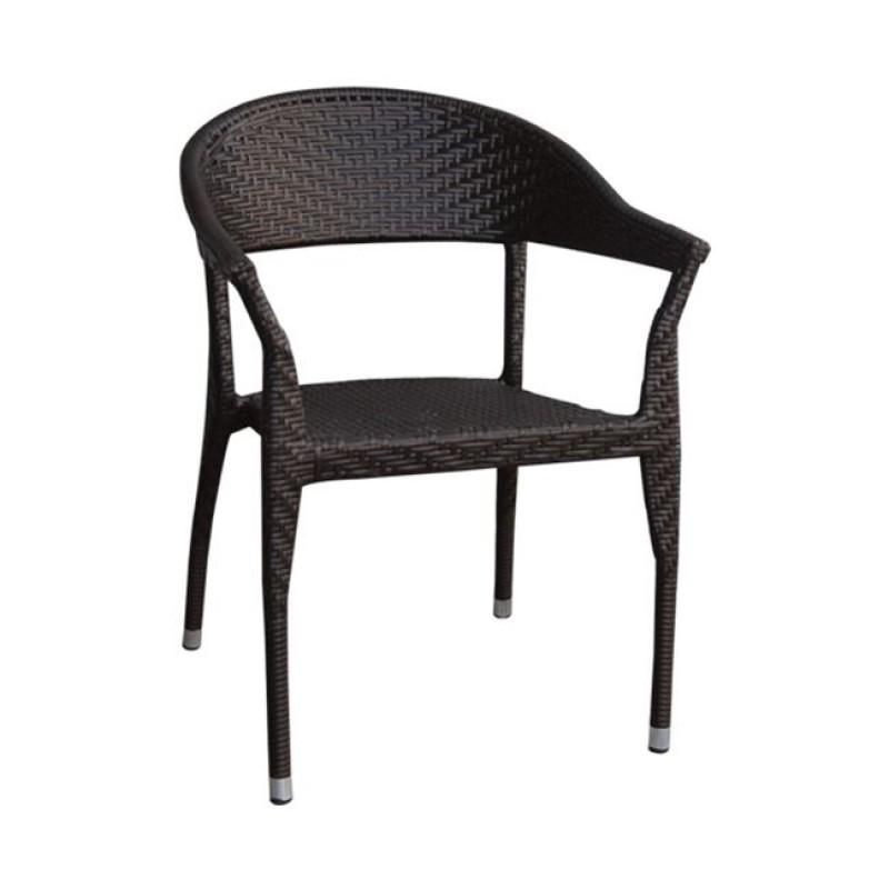 """Πολυθρόνα """"SERANO"""" μεταλλική  από πλέξη wicker σε καφέ χρώμα 58x62x79"""