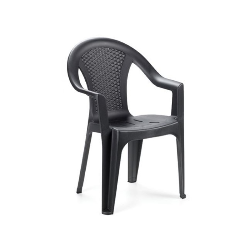 """Πολυθρόνα """"ISCHIA"""" πλαστική σε ανθρακί χρώμα 54x56x81"""