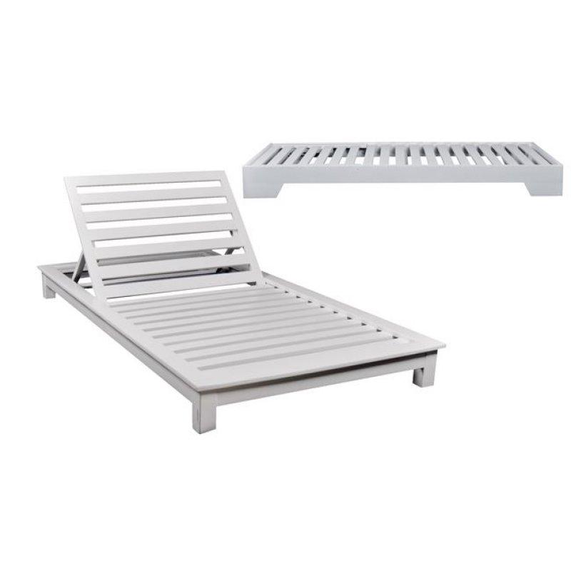 """Ξαπλώστρα """"VERANO"""" ξύλινη διθέσια σε λευκό χρώμα 110x206x18"""