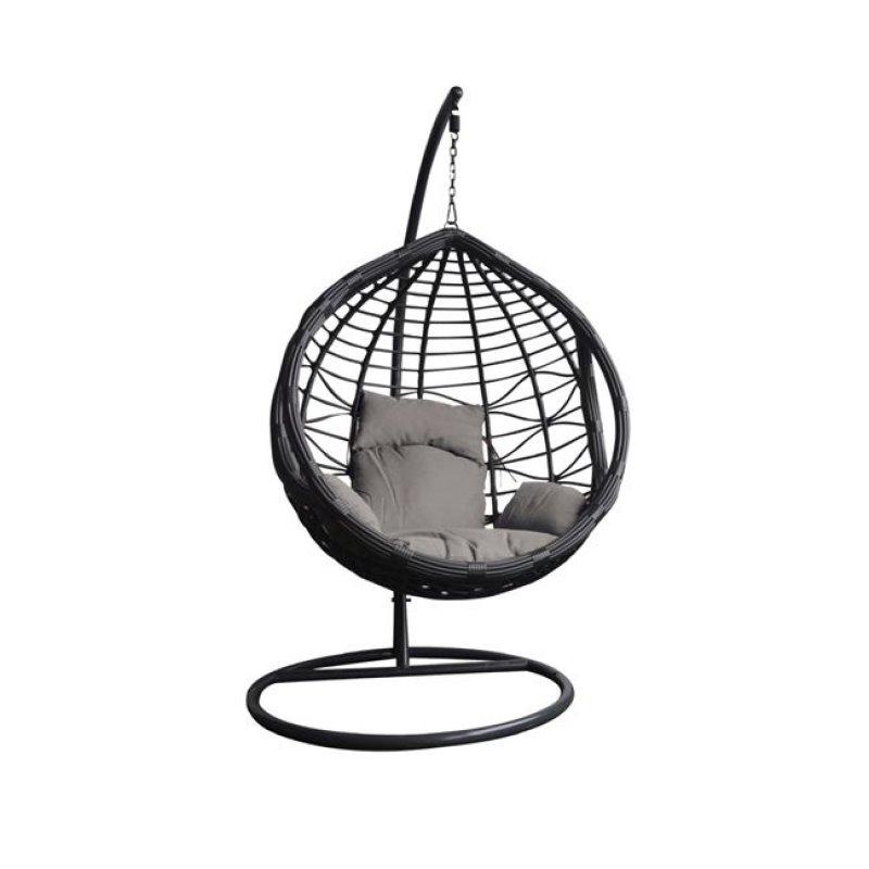 """Πολυθρόνα κρεμαστή """"BILBAO"""" μεταλλική-wicker σε γκρι χρώμα 105x200"""