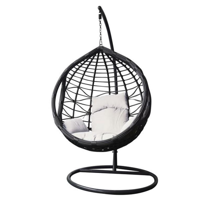 """Πολυθρόνα κρεμαστή """"BILBAO"""" μεταλλική-wicker σε γκρι-λευκό χρώμα 105x200"""