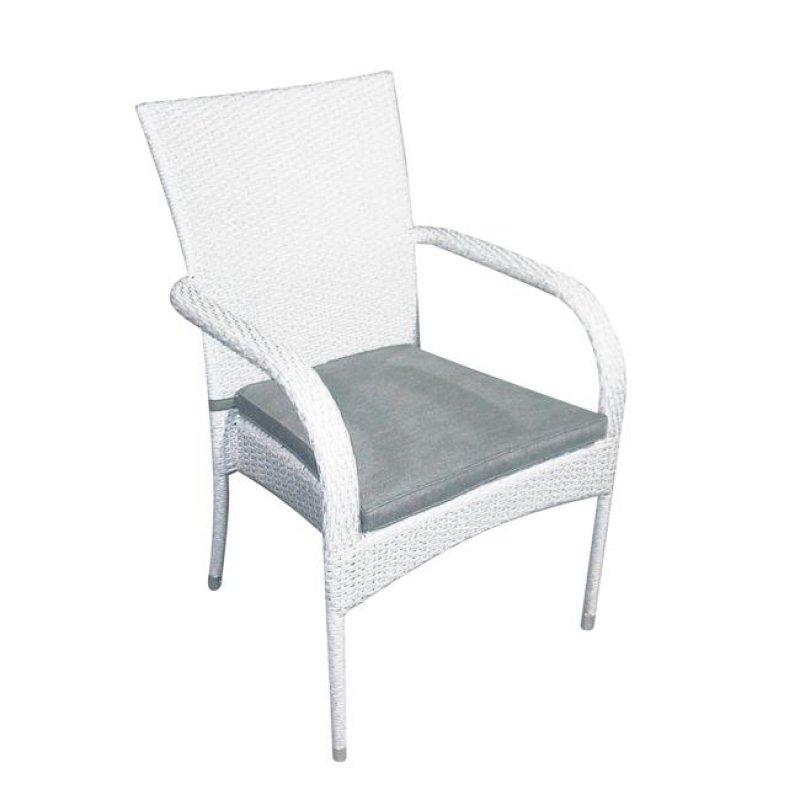 """Πολυθρόνα """"BARON"""" αλουμινίου από πλέξη wicker σε λευκό χρώμα 57x60x93"""