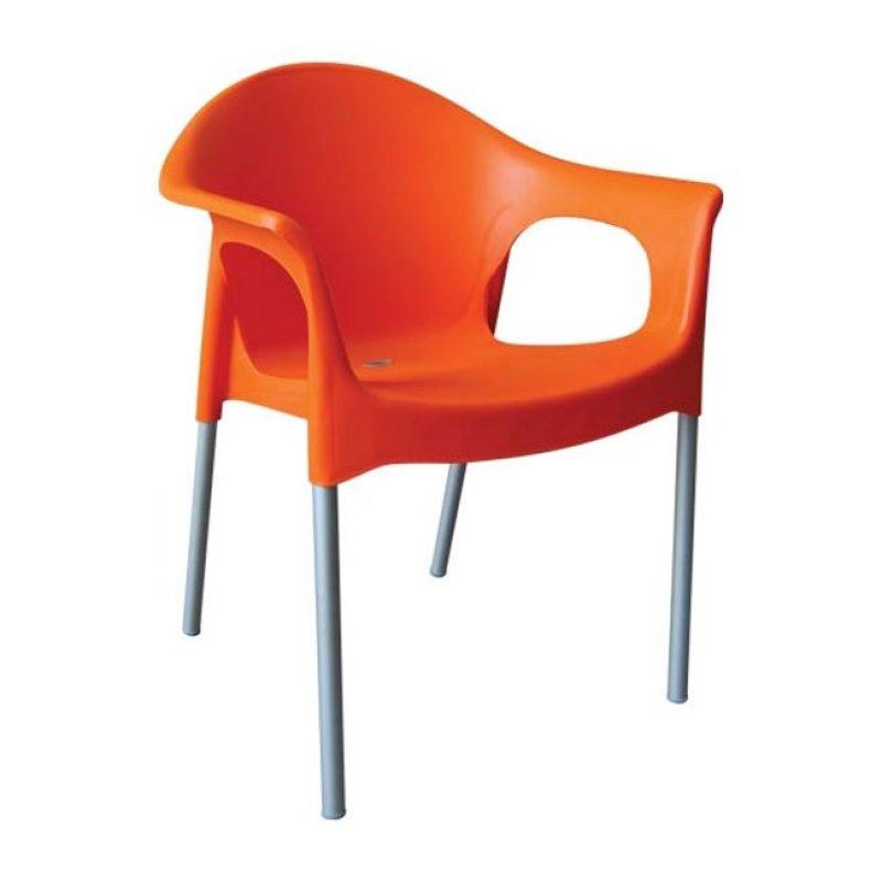"""Πολυθρόνα """"MARY"""" από πολυπροπυλένιο σε πορτοκαλί χρώμα 59x50x76"""