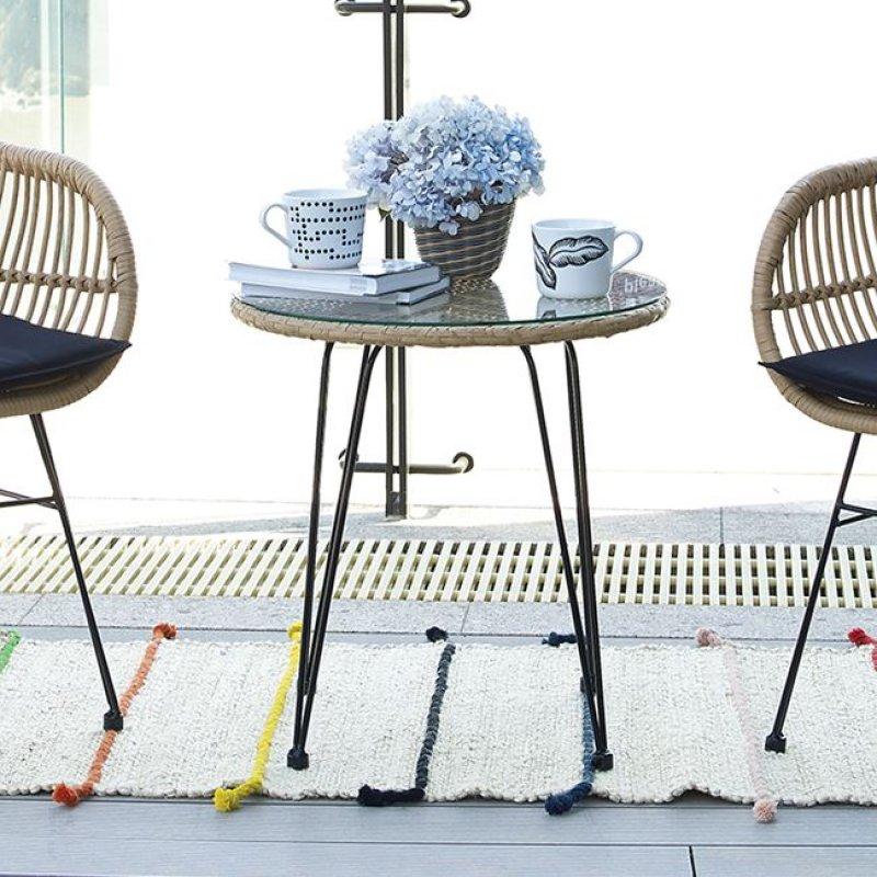 """Τραπέζι """"SALSA"""" μεταλλικό με wicker σε χρώμα μαύρο 52x53"""