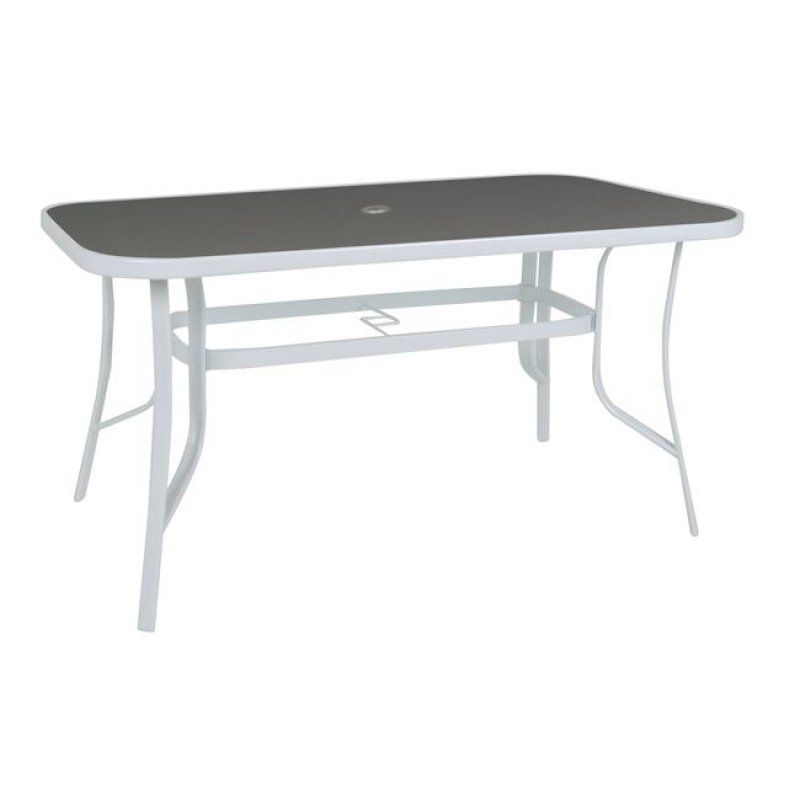 """Τραπέζι """"RIO"""" μεταλλικό σε χρώμα λευκό με γυάλινη επιφάνεια 150x90x71"""