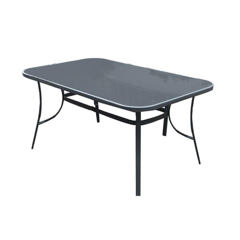 """Τραπέζι """"VERONA"""" μεταλλικό σε ανθρακί χρώμα με γυάλινη επιφάνεια 160x96x71"""