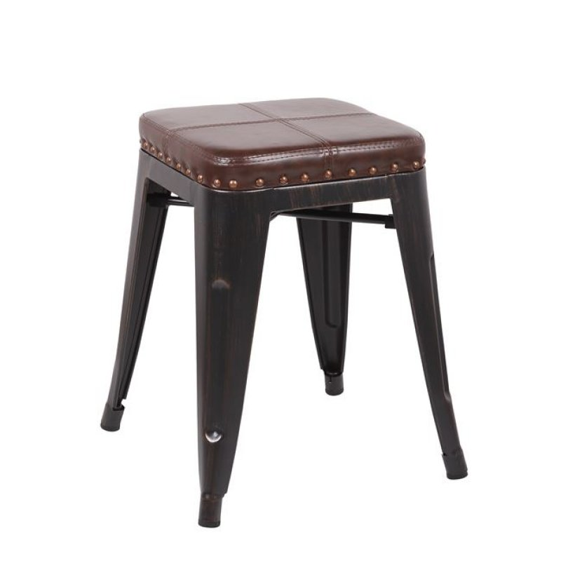 """Σκαμπώ """"RELIX"""" μεταλλικό-pu σε antique black-καφέ χρώμα 39x39x45"""