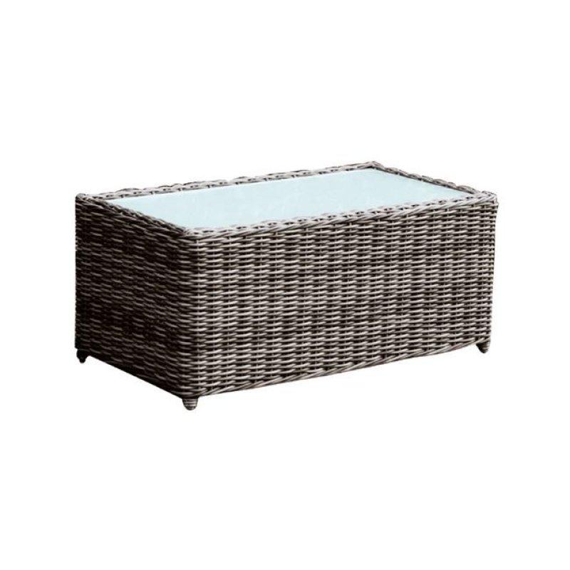 """Τραπέζι """"ARIZONA"""" αλουμινίου με πλέξη wicker σε χρώμα καφέ 100x50x45"""