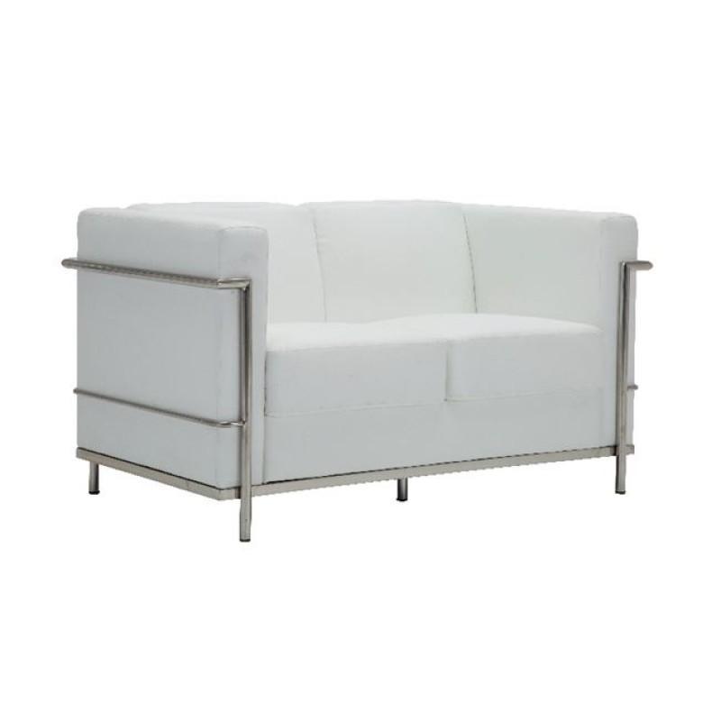 """Καναπές """"GENOVA"""" διθέσιος από pu-inox σε λευκό χρώμα 130x73x71"""