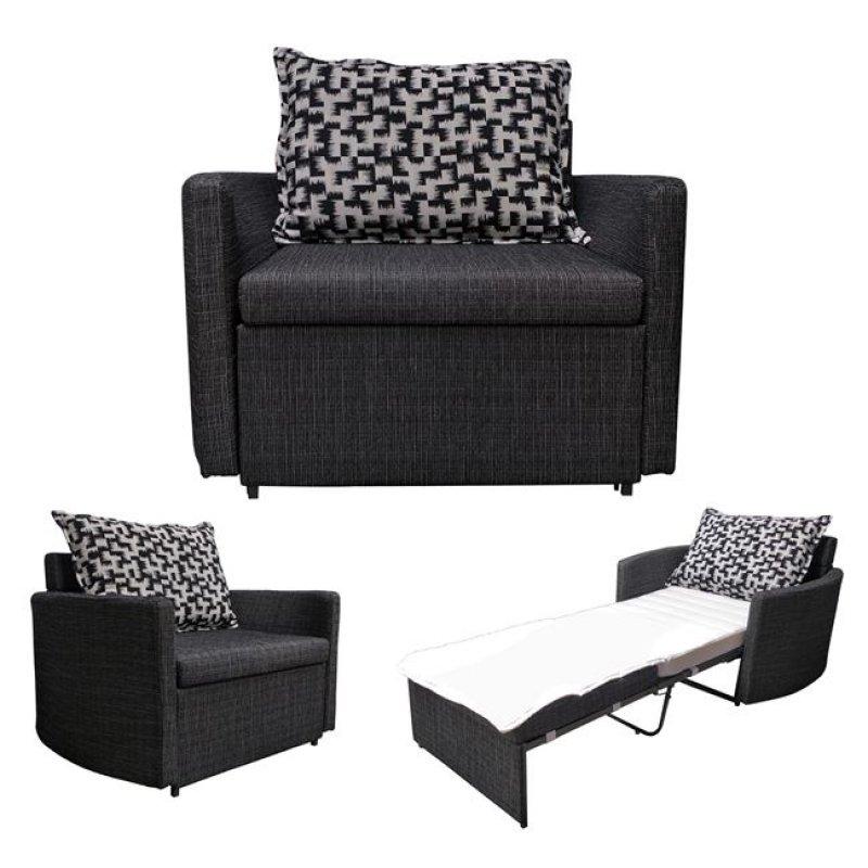 """Πολυθρόνα-κρεβάτι """"ADAMS"""" με ύφασμα σε χρώμα μαύρο 109x88x84"""