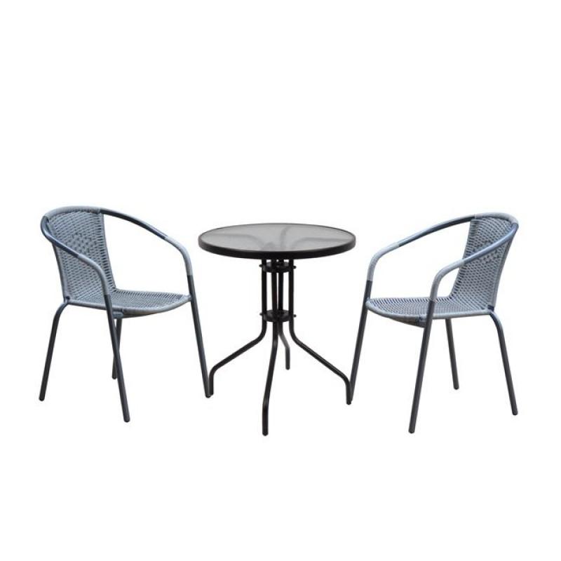 """Σετ κήπου """"BALENO"""" μεταλλικό-wicker σε μαύρο-γκρι χρώμα 60x70"""