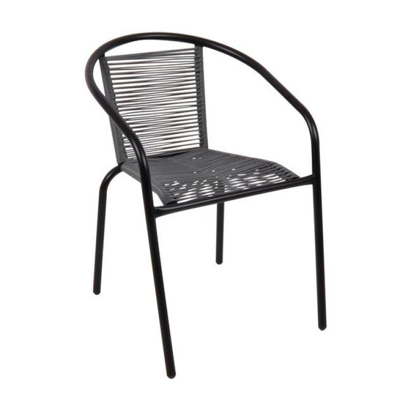 """Πολυθρόνα """"FUNKY"""" μεταλλική σε χρώμα μαύρο με wicker γκρι 54x60x77"""