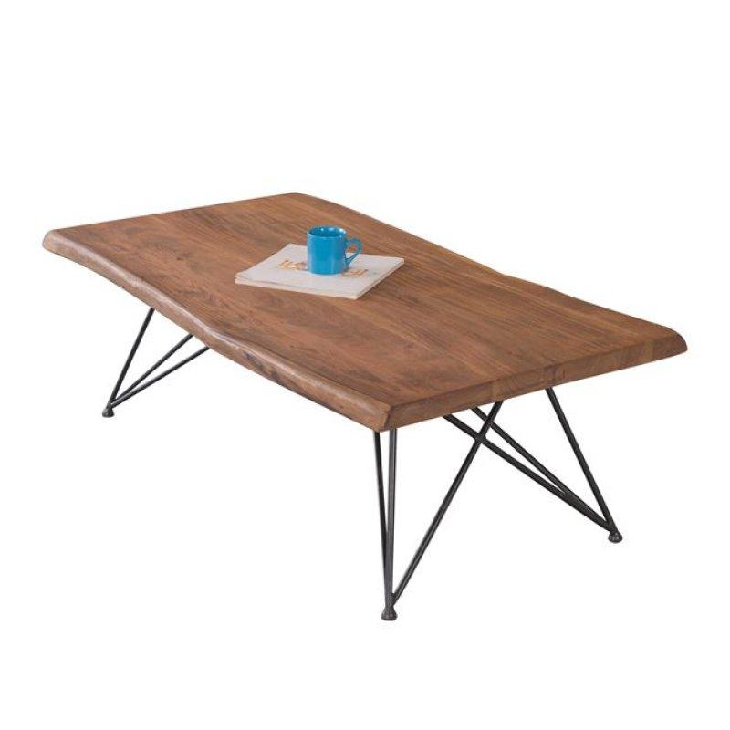 """Τραπέζι σαλονιού """"NAGAR"""" από μέταλλο/ξύλο σε χρώμα μαύρο-φυσικό 115x64x40"""