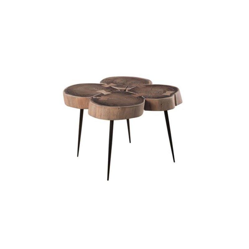 """Τραπέζι σαλονιού """"PATEL"""" από μέταλλο/ξύλο σε χρώμα μαύρο-φυσικό 55x55x42"""