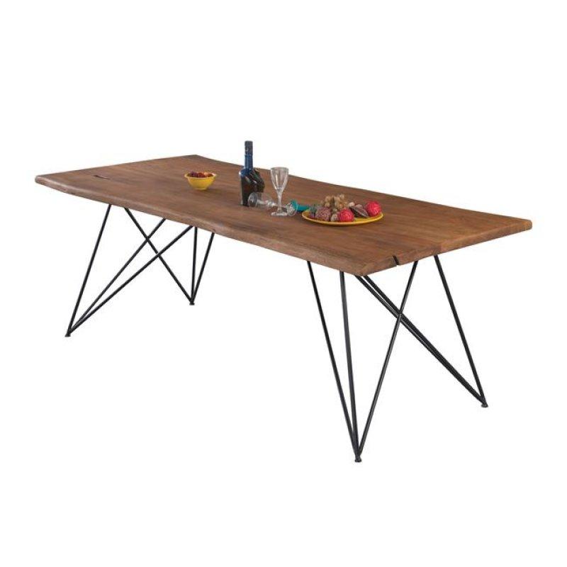 """Τραπέζι """"NAGAR"""" από μέταλλο/ξύλο σε χρώμα μαύρο-φυσικό 200x95x76"""