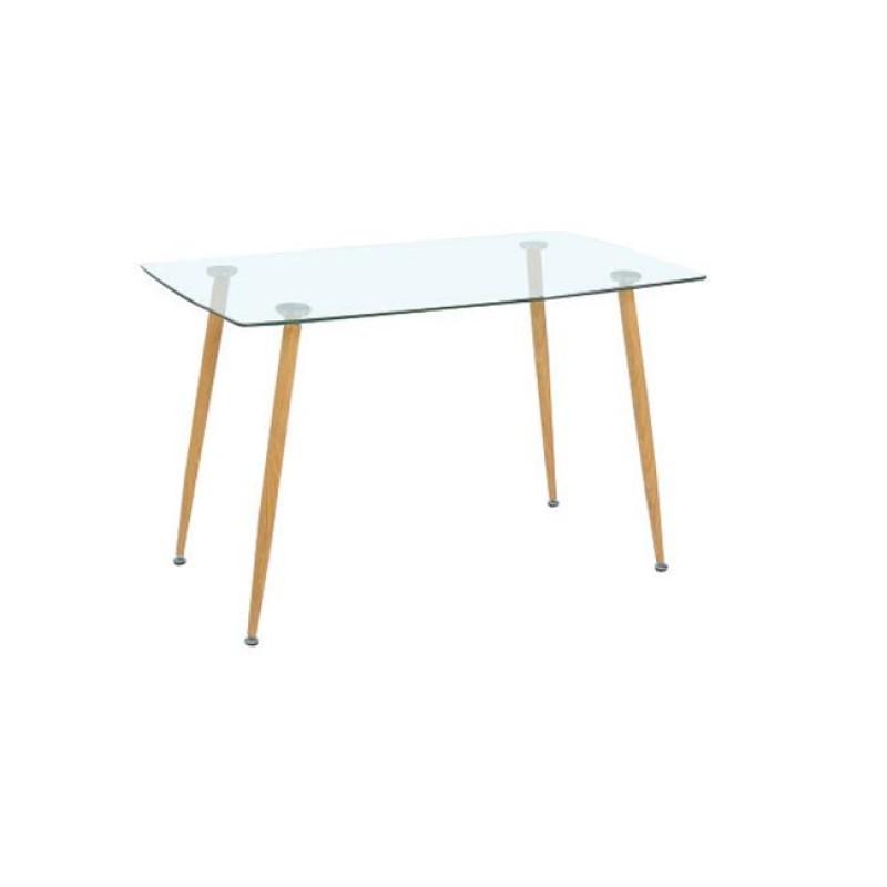"""Τραπέζι """"ROBY"""" μεταλλικό με γυάλινη επιφάνεια 120x70x75"""
