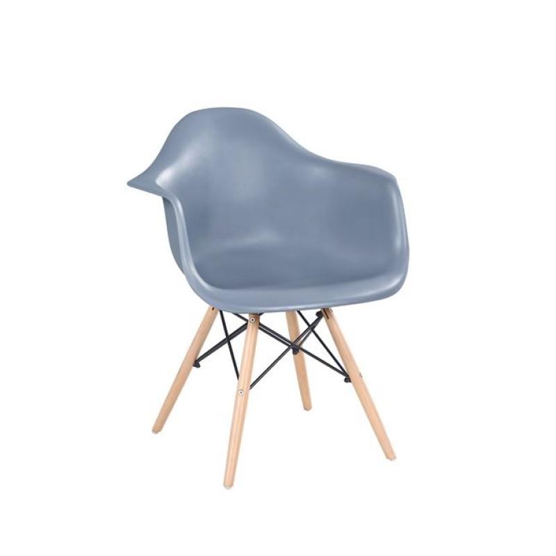 """Πολυθρόνα """"ALEA Wood"""" πολυπροπυλενίου σε χρώμα γκρι 62x61x88"""