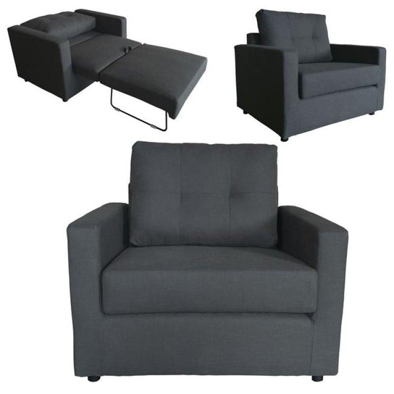 """Πολυθρόνα-κρεβάτι """"DEVON"""" από ύφασμα σε ανθρακί χρώμα 103x84x89"""
