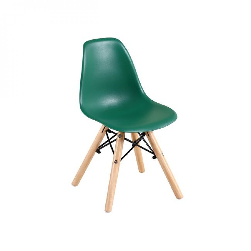 """Καρέκλα """"ART Wood Kid"""" ξύλινη/pp σε πράσινο χρώμα 32x34x57"""