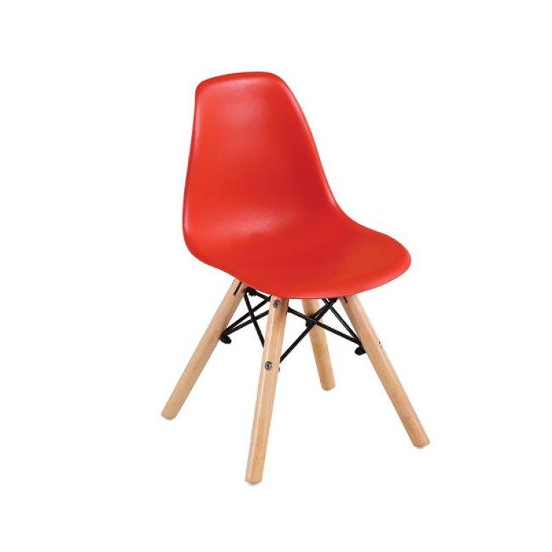 """Καρέκλα """"ART Wood Kid"""" ξύλινη/pp σε κόκκινο χρώμα 32x34x57"""